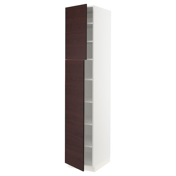 SEKTION High cabinet with shelves & 2 doors, white Askersund/dark brown ash effect, 18x24x90 ""