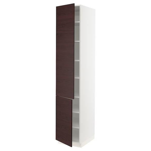 "SEKTION High cabinet with shelves & 2 doors, white Askersund/dark brown ash effect, 18x24x90 """