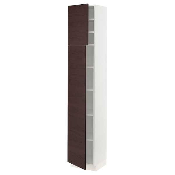 "SEKTION High cabinet with shelves & 2 doors, white Askersund/dark brown ash effect, 15x15x80 """
