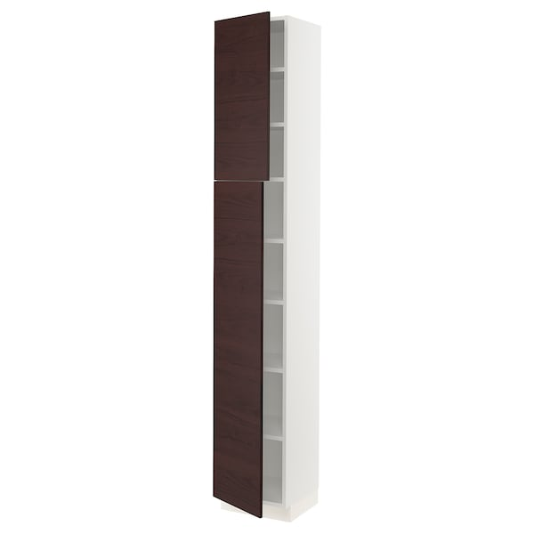 SEKTION High cabinet with shelves & 2 doors, white Askersund/dark brown ash effect, 15x15x90 ""