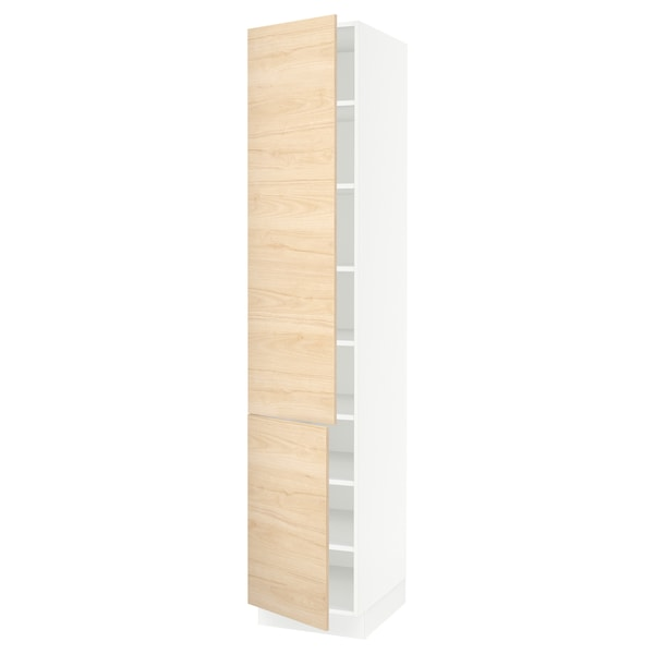 SEKTION High cabinet with shelves/2 doors, white/Askersund light ash effect, 18x24x90 ""