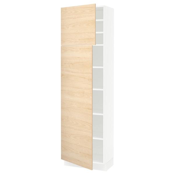 "SEKTION High cabinet with shelves/2 doors, white/Askersund light ash effect, 24x15x80 """