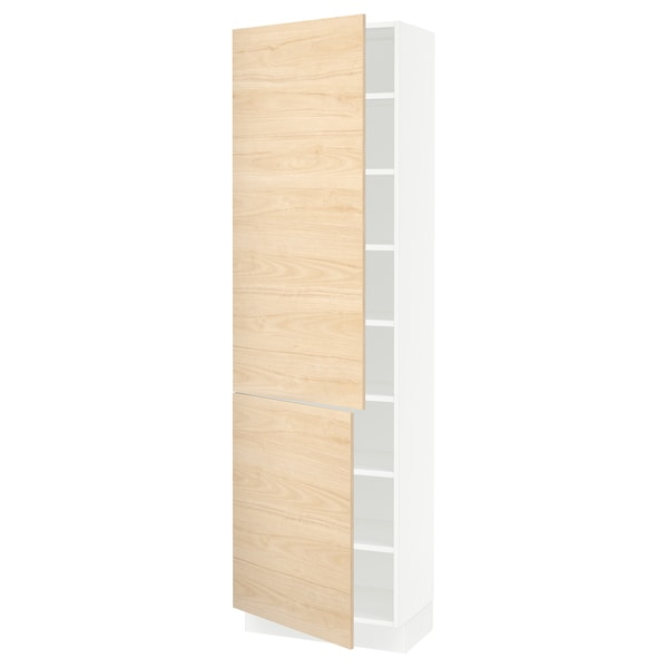 SEKTION High cabinet with shelves/2 doors, white/Askersund light ash effect, 24x15x80 ""