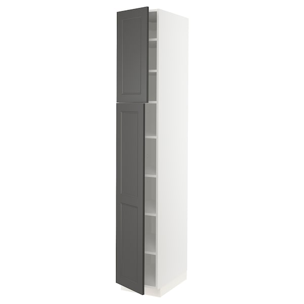 "SEKTION High cabinet with shelves & 2 doors, white/Axstad dark gray, 15x24x90 """