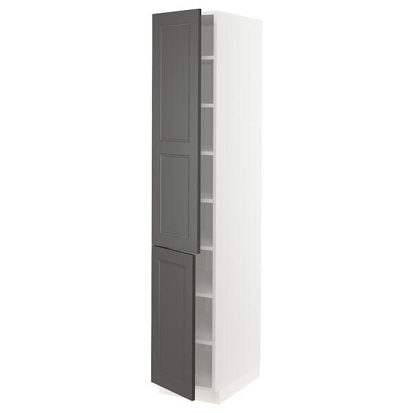 SEKTION High cabinet with shelves & 2 doors, white/Axstad dark gray, 15x24x80 ""