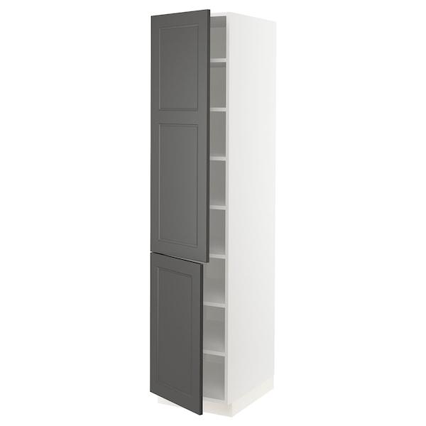 "SEKTION High cabinet with shelves & 2 doors, white/Axstad dark gray, 18x24x80 """
