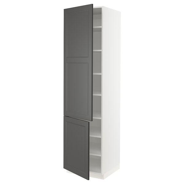 SEKTION High cabinet with shelves & 2 doors, white/Axstad dark gray, 24x24x90 ""