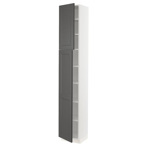 "SEKTION High cabinet with shelves & 2 doors, white/Axstad dark gray, 15x15x90 """