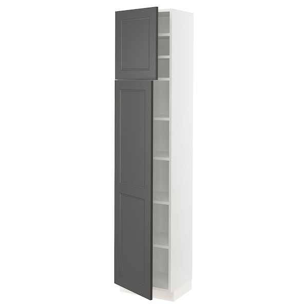 SEKTION High cabinet with shelves & 2 doors, white/Axstad dark gray, 18x15x80 ""