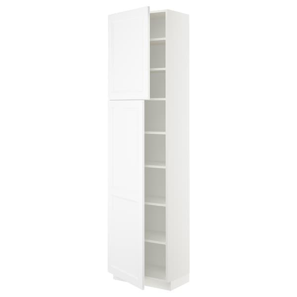"SEKTION High cabinet with shelves/2 doors, white/Axstad matt white, 24x15x90 """