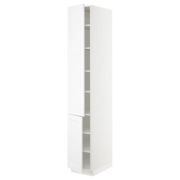 "SEKTION High cabinet with shelves/2 doors, white/Axstad matt white, 15x24x90 """