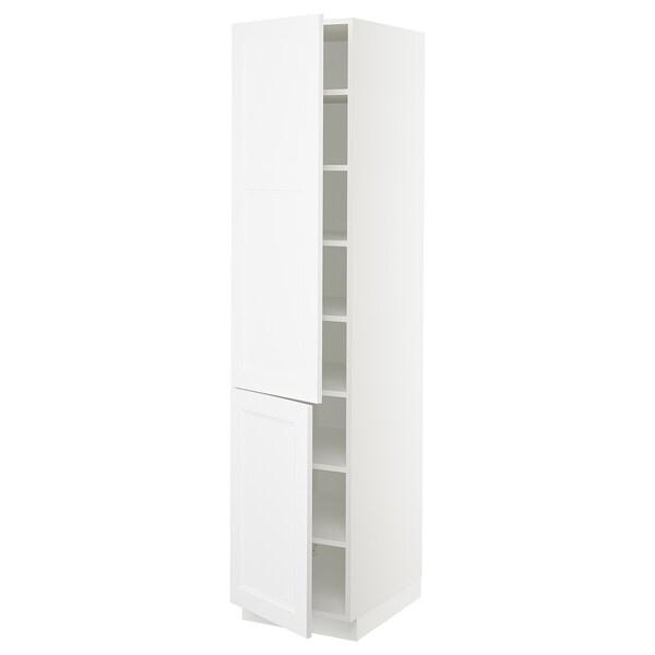 "SEKTION High cabinet with shelves/2 doors, white/Axstad matt white, 18x24x80 """