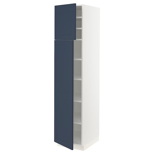 """SEKTION High cabinet with shelves/2 doors, white Axstad/matte blue, 18x24x80 """""""