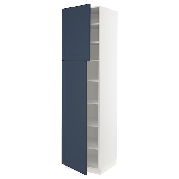 """SEKTION High cabinet with shelves/2 doors, white Axstad/matte blue, 24x24x90 """""""