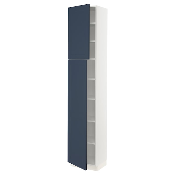 """SEKTION High cabinet with shelves/2 doors, white Axstad/matte blue, 18x15x90 """""""