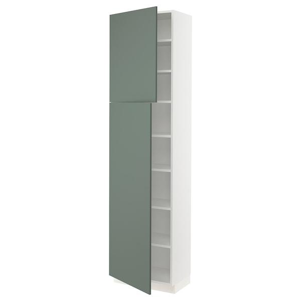 "SEKTION High cabinet with shelves/2 doors, white/Bodarp gray-green, 24x15x90 """