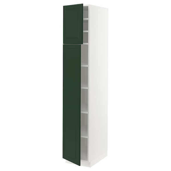 SEKTION High cabinet with shelves/2 doors, white/Bodbyn dark green, 15x24x80 ""