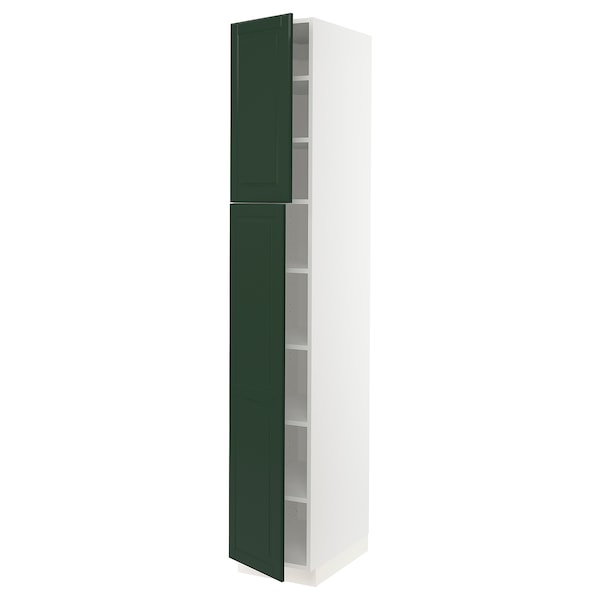 """SEKTION High cabinet with shelves/2 doors, white/Bodbyn dark green, 15x24x90 """""""