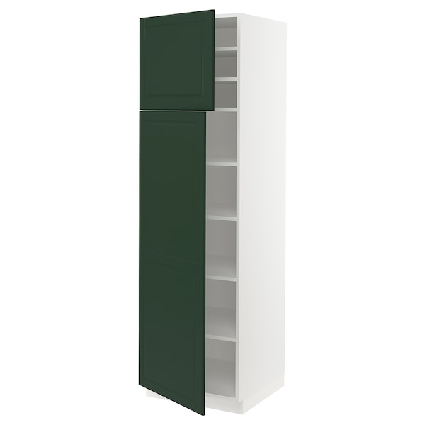 """SEKTION High cabinet with shelves/2 doors, white/Bodbyn dark green, 24x24x80 """""""
