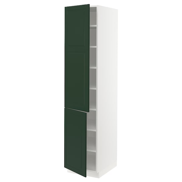 """SEKTION High cabinet with shelves/2 doors, white/Bodbyn dark green, 18x24x80 """""""