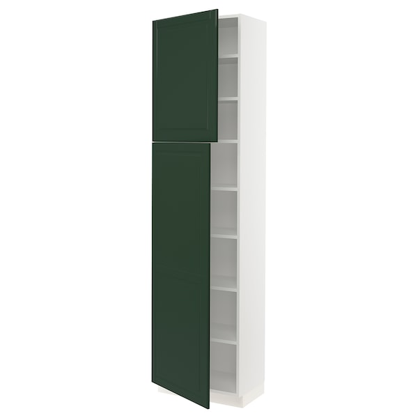 SEKTION High cabinet with shelves/2 doors, white/Bodbyn dark green, 24x15x90 ""