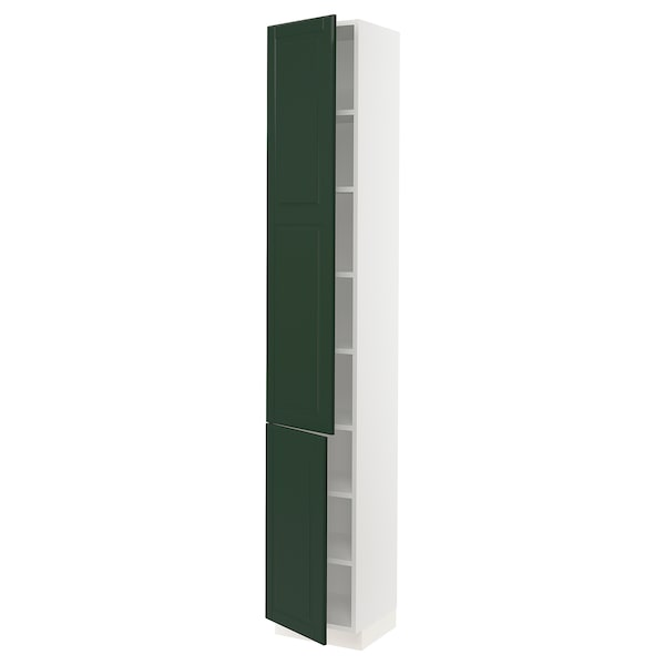 """SEKTION High cabinet with shelves/2 doors, white/Bodbyn dark green, 15x15x90 """""""