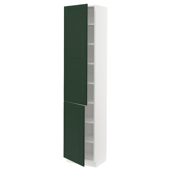 """SEKTION High cabinet with shelves/2 doors, white/Bodbyn dark green, 18x15x80 """""""
