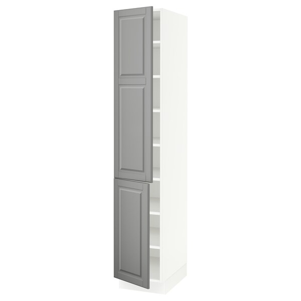 """SEKTION High cabinet with shelves/2 doors, white/Bodbyn gray, 15x24x80 """""""