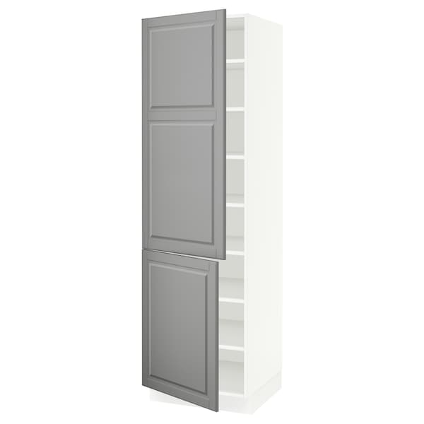 """SEKTION High cabinet with shelves/2 doors, white/Bodbyn gray, 24x24x80 """""""