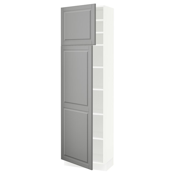 SEKTION High cabinet with shelves/2 doors, white/Bodbyn gray, 24x15x80 ""