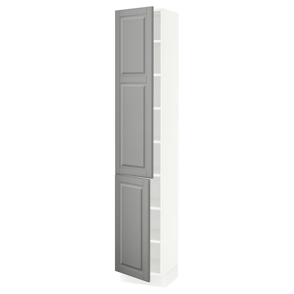 """SEKTION High cabinet with shelves/2 doors, white/Bodbyn gray, 15x15x80 """""""