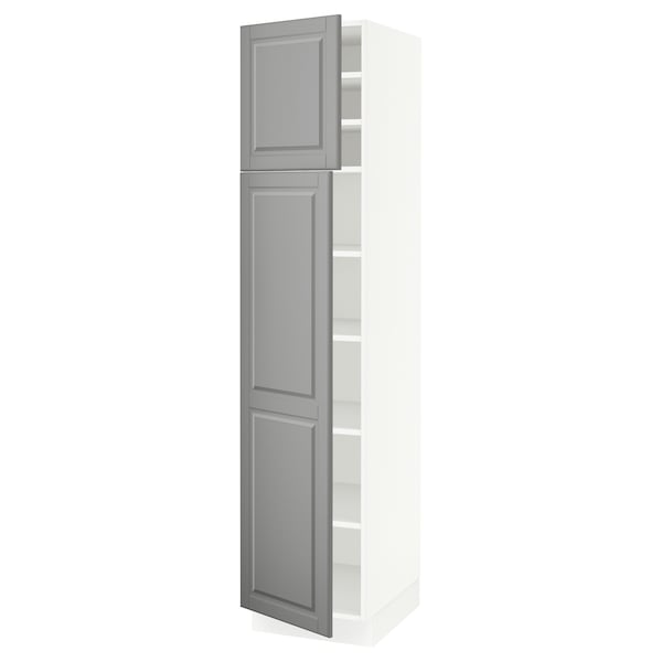 """SEKTION High cabinet with shelves/2 doors, white/Bodbyn gray, 18x24x80 """""""