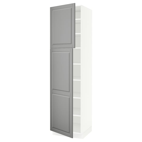 """SEKTION High cabinet with shelves/2 doors, white/Bodbyn gray, 24x24x90 """""""