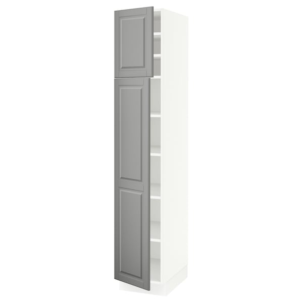 SEKTION High cabinet with shelves/2 doors, white/Bodbyn gray, 15x24x80 ""