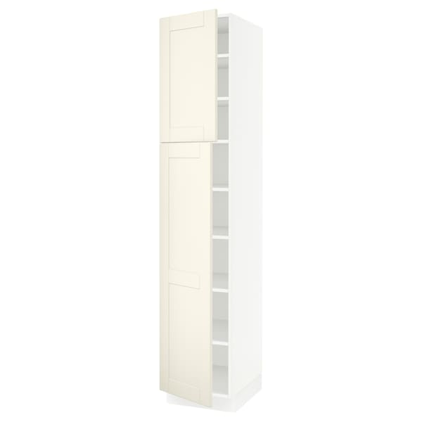 SEKTION High cabinet with shelves/2 doors, white/Grimslöv off-white, 18x24x90 ""