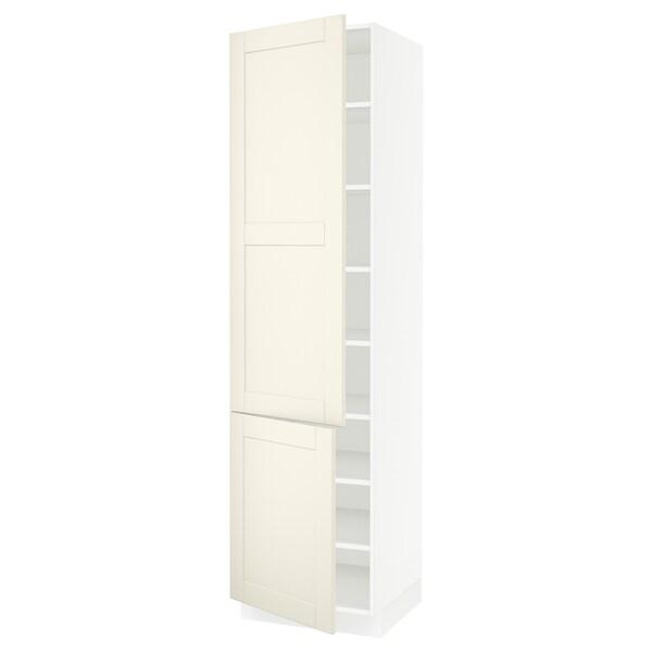 "SEKTION High cabinet with shelves/2 doors, white/Grimslöv off-white, 24x24x90 """