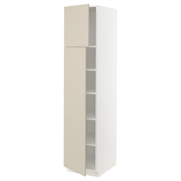 SEKTION High cabinet with shelves/2 doors, white/Havstorp beige, 18x24x80 ""