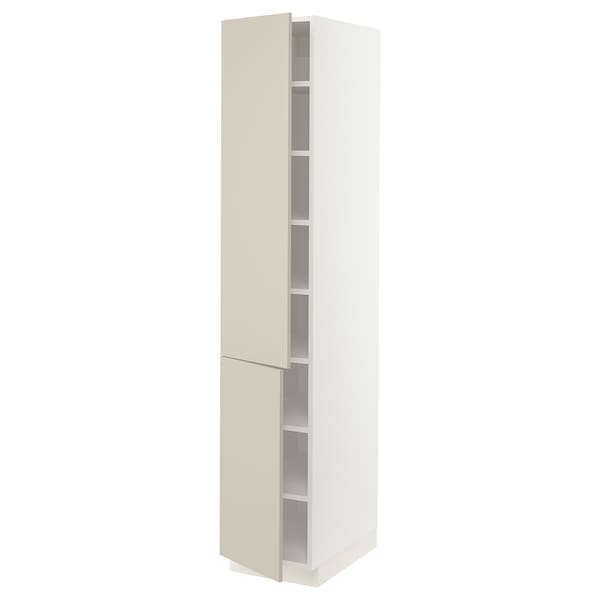 SEKTION High cabinet with shelves/2 doors, white/Havstorp beige, 15x24x80 ""