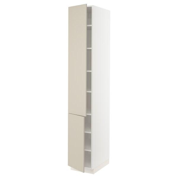 "SEKTION High cabinet with shelves/2 doors, white/Havstorp beige, 15x24x90 """