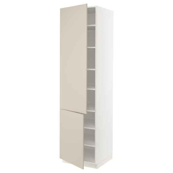 SEKTION High cabinet with shelves/2 doors, white/Havstorp beige, 24x24x90 ""