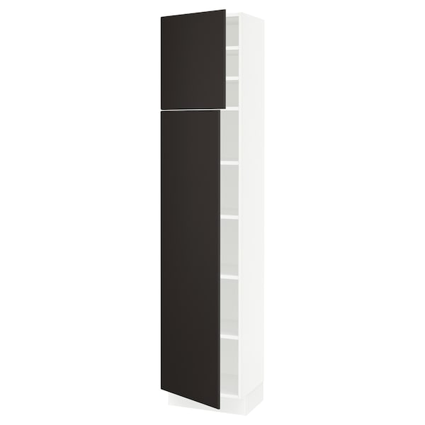 """SEKTION High cabinet with shelves/2 doors, white/Kungsbacka anthracite, 18x15x80 """""""