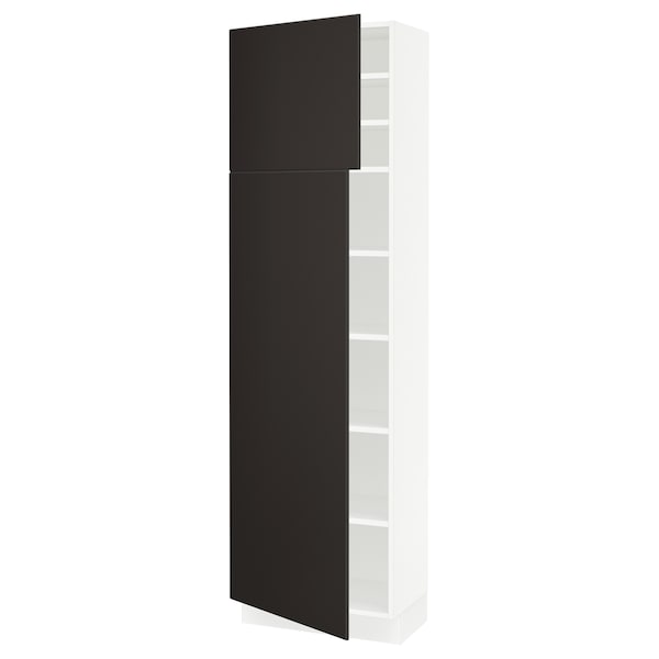 SEKTION High cabinet with shelves/2 doors, white/Kungsbacka anthracite, 24x15x80 ""