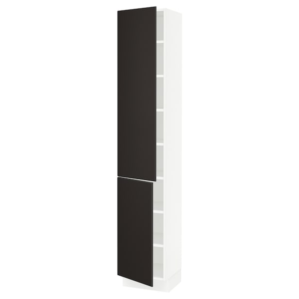 """SEKTION High cabinet with shelves/2 doors, white/Kungsbacka anthracite, 15x15x80 """""""