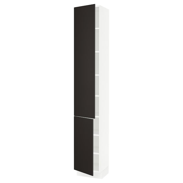 """SEKTION High cabinet with shelves/2 doors, white/Kungsbacka anthracite, 15x15x90 """""""