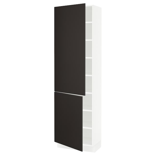 """SEKTION High cabinet with shelves/2 doors, white/Kungsbacka anthracite, 24x15x80 """""""