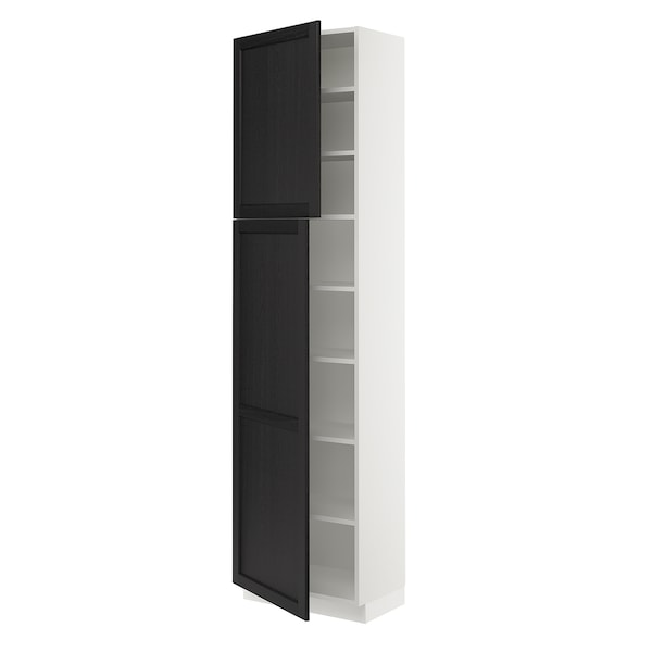 SEKTION High cabinet with shelves/2 doors, white/Lerhyttan black stained, 24x15x90 ""