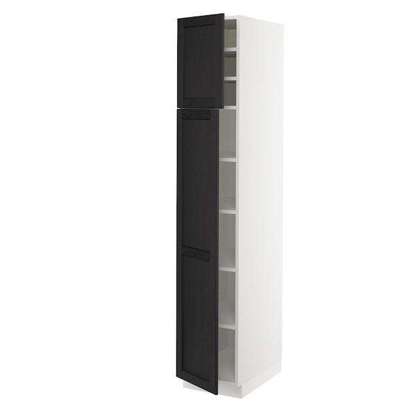 """SEKTION High cabinet with shelves/2 doors, white/Lerhyttan black stained, 15x24x80 """""""