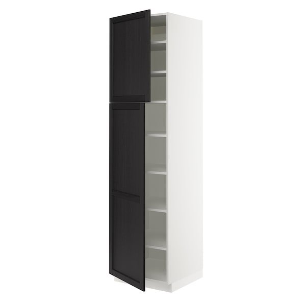 """SEKTION High cabinet with shelves/2 doors, white/Lerhyttan black stained, 24x24x90 """""""