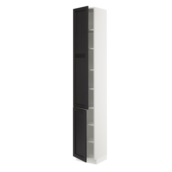 """SEKTION High cabinet with shelves/2 doors, white/Lerhyttan black stained, 15x15x90 """""""