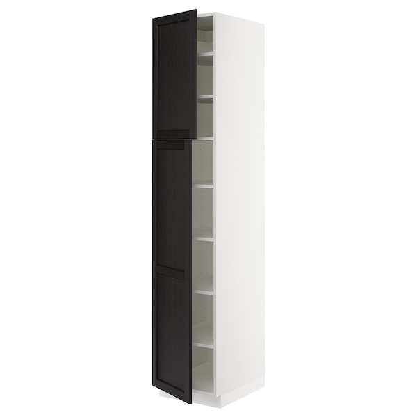 SEKTION High cabinet with shelves/2 doors, white/Lerhyttan black stained, 18x24x90 ""